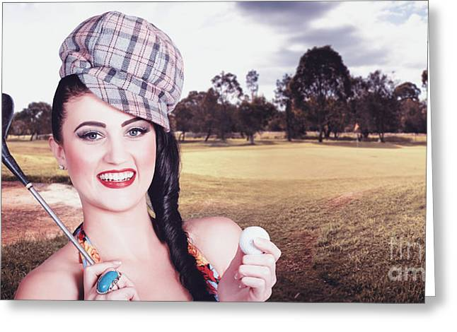 Portrait Of A Smiling Retro Female Golfer Greeting Card by Jorgo Photography - Wall Art Gallery