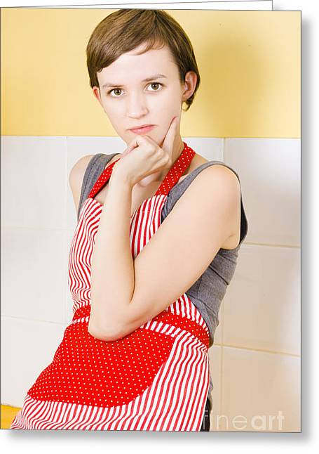 Apron Photographs Greeting Cards - Portrait of a thinking cook on kitchen background Greeting Card by Ryan Jorgensen