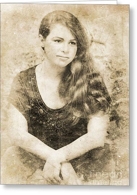 Plunging Greeting Cards - Portrait Of A Vintage Lady Greeting Card by Ryan Jorgensen