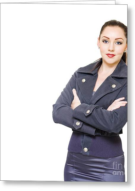 Employer Greeting Cards - Portrait Of A Young Female Executive On White Greeting Card by Ryan Jorgensen