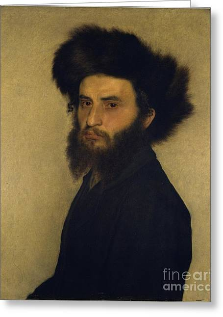 Orthodox Paintings Greeting Cards - Portrait of a Young Jewish Man Greeting Card by Isidor Kaufmann
