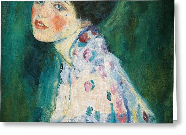 Portrait of a young woman Greeting Card by Gustav Klimt