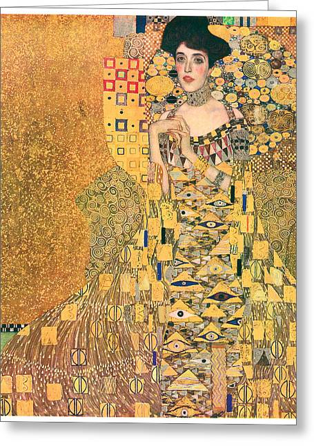 Adele Paintings Greeting Cards - Portrait of Adele Bloch-Bauer I Greeting Card by Gustav Klimt