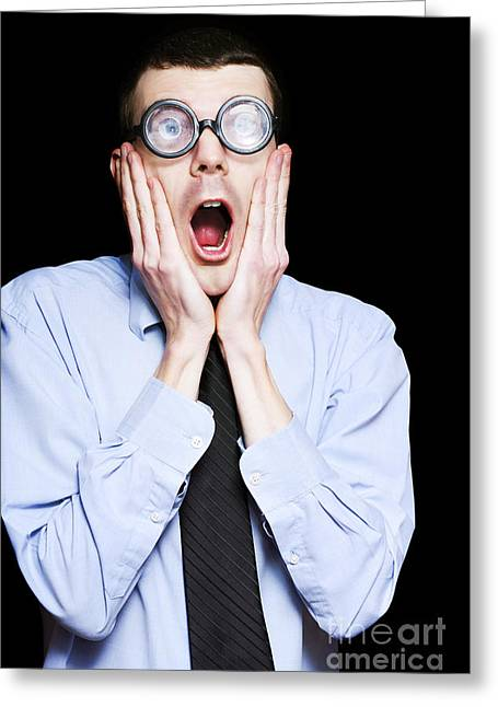 Bookkeeping Greeting Cards - Portrait Of Astonished Accounting Businessman Greeting Card by Ryan Jorgensen