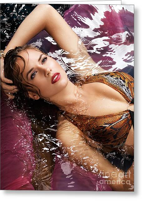 High Colour Vivid Color Greeting Cards - Portrait of beautiful woman lying in water Greeting Card by Oleksiy Maksymenko