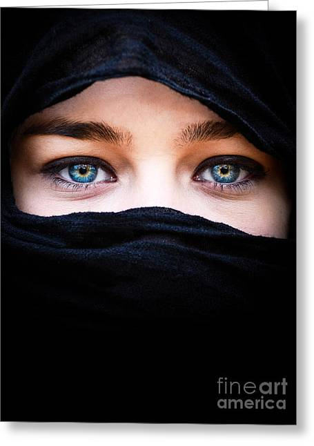 Vale Greeting Cards - Portrait of beautiful woman with blue eyes wearing black scarf Greeting Card by Aleksandar Mijatovic