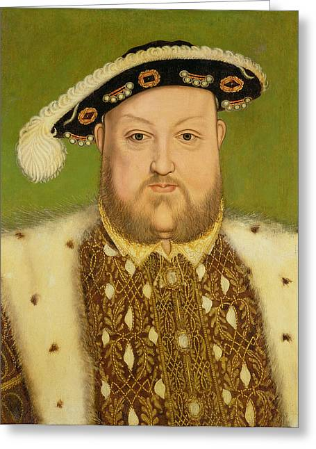 King Greeting Cards - Portrait Of Henry Viii Greeting Card by Hans Holbein the Younger