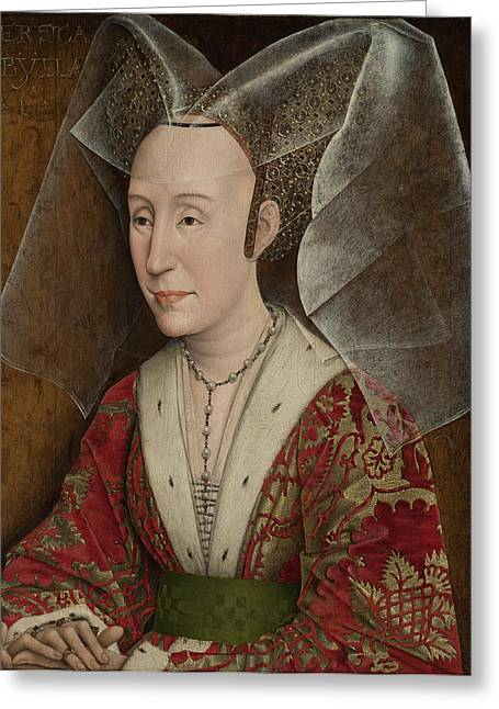 Isabella Of Portugal Greeting Cards - Portrait of Isabella of Portugal Greeting Card by Workshop of Rogier van der Weyden