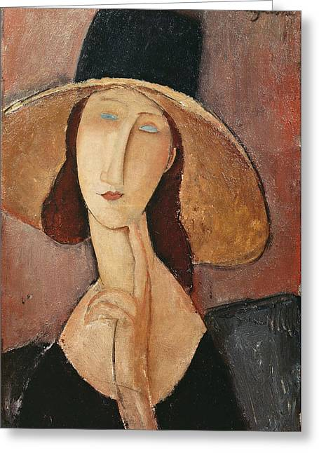 Hebuterne Greeting Cards - Portrait Of Jeanne Hebuterne In A Large Hat Greeting Card by Celestial Images