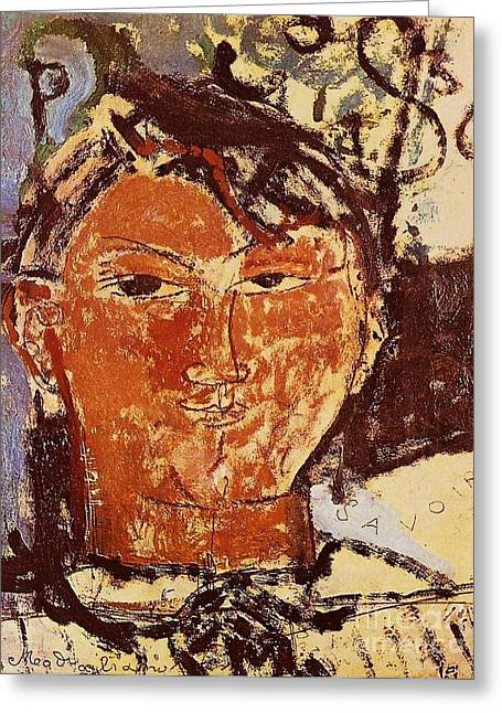 Modigliani Greeting Cards - Portrait of Picasso Greeting Card by Pg Reproductions