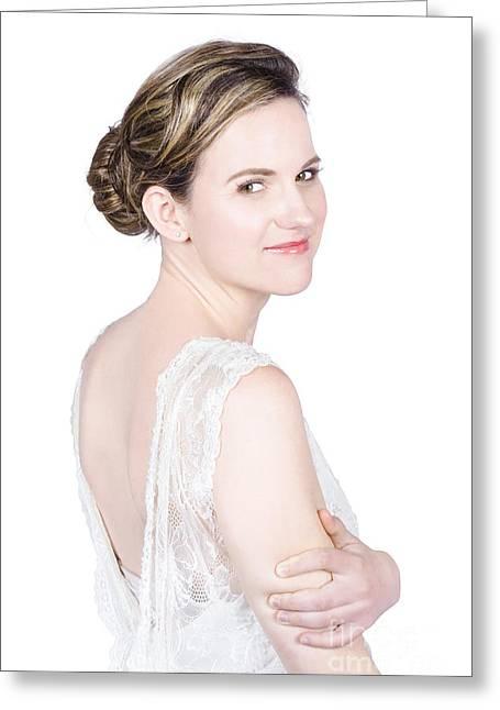 Modeling Bride Greeting Cards - Portrait of stylish bride Greeting Card by Ryan Jorgensen