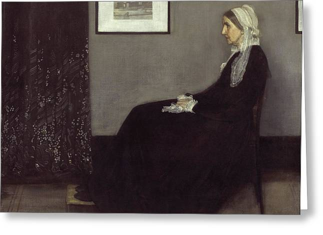 James Abbott Mcneill Whistler Greeting Cards - Portrait of the Artists Mother Greeting Card by James Abbott McNeill Whistler