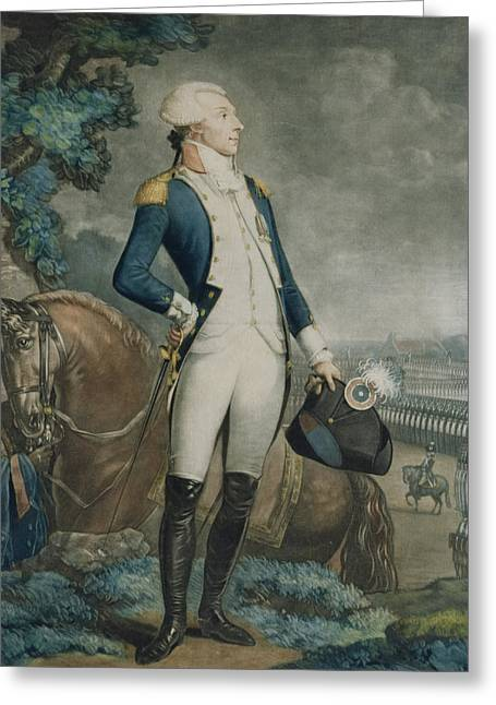 The Horse Greeting Cards - Portrait of the Marquis de La Fayette Greeting Card by Philibert-Louis Debucourt