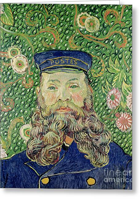 Portrait Of The Postman Joseph Roulin Greeting Card by Vincent Van Gogh