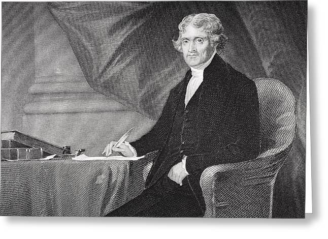 Declaration Of Independence Drawings Greeting Cards - Portrait of Thomas Jefferson Greeting Card by Alonzo Chappel