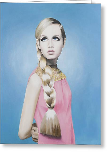 Twiggy Paintings Greeting Cards - Portrait of Twiggy Greeting Card by Moe Notsu
