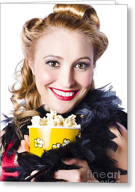 Portrait Of Woman With Popcorn Greeting Card by Jorgo Photography - Wall Art Gallery