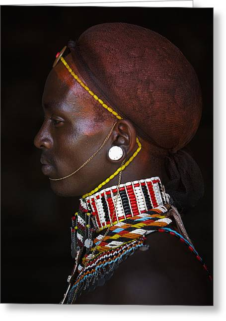 Jewellery Greeting Cards - Portrait Of Young Samburu Man Greeting Card by Toby Adamson