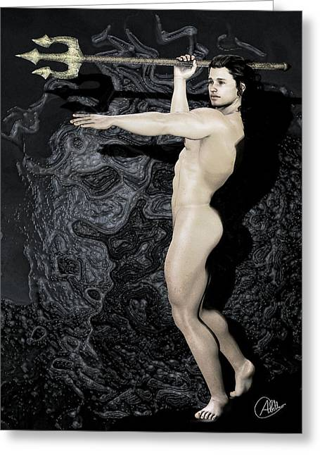 Graphite Digital Art Greeting Cards - Poseidon Neptune Greeting Card by Joaquin Abella