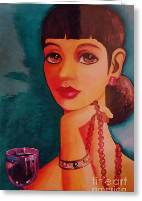 Posh Greeting Cards - Posh lady Greeting Card by Celeste  Acevedo Garat
