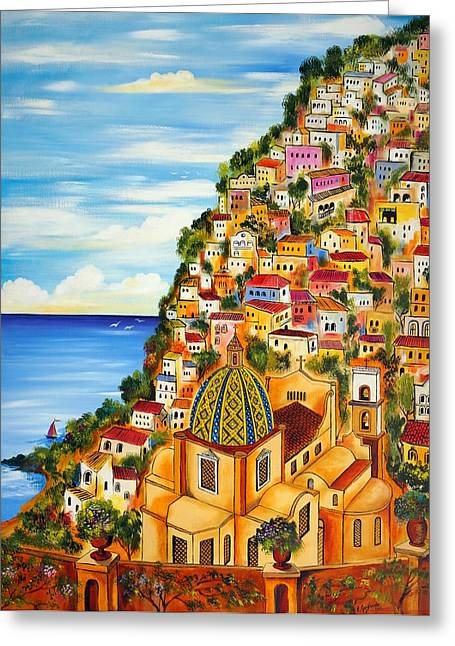 Positano Greeting Card by Roberto Gagliardi