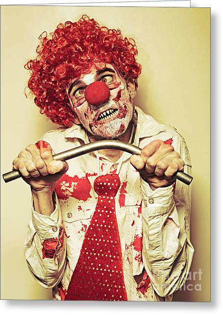 Possessed Horror Clown With Supernatural Strength Greeting Card by Jorgo Photography - Wall Art Gallery
