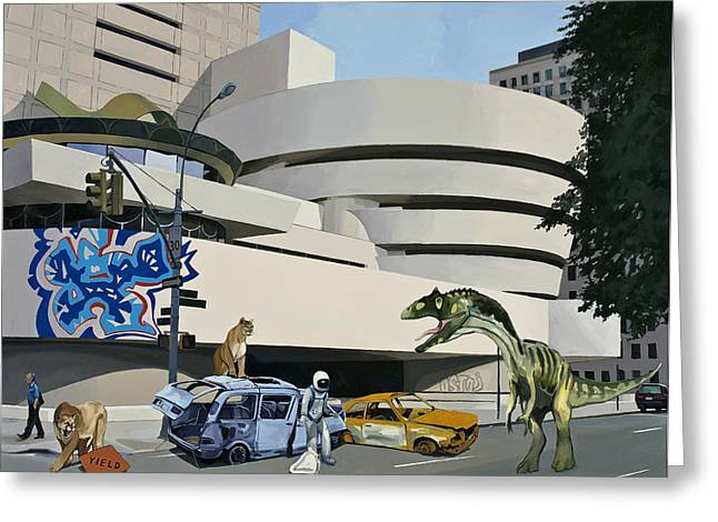 Graffiti Greeting Cards - Post-Nuclear Guggenheim Visit Greeting Card by Scott Listfield