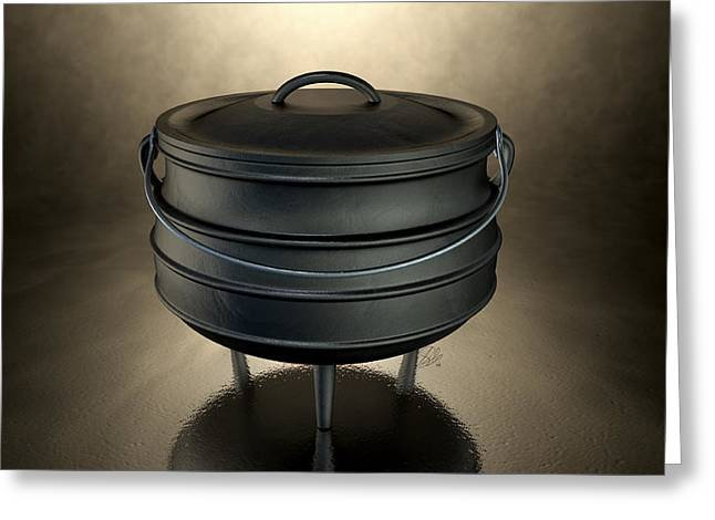 Stew Greeting Cards - Potjiekos Pot Black Greeting Card by Allan Swart