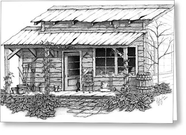 Shed Drawings Greeting Cards - Potting Shed Greeting Card by Linda Pfeifer