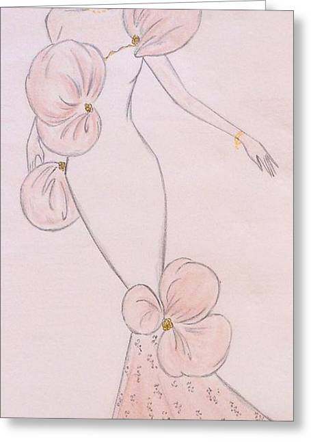 Evening Dress Pastels Greeting Cards - Powder Puff Gown  Greeting Card by Christine Corretti