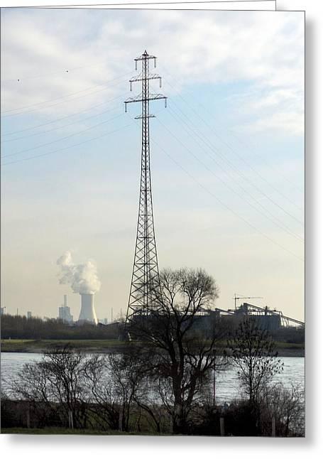 Power Station Greeting Card by Detlev Van Ravenswaay