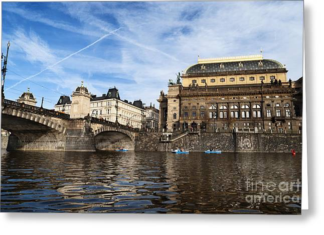 Boat Pyrography Greeting Cards - Prague from Vltava Greeting Card by Jelena Jovanovic