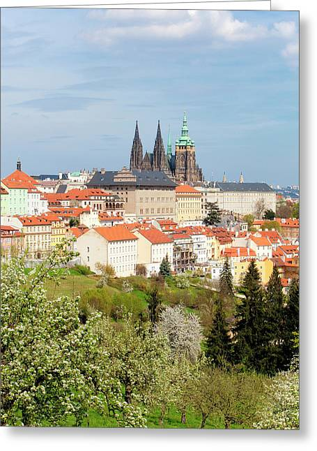 Prague - View Of Hradcany Castle Greeting Card by Panoramic Images