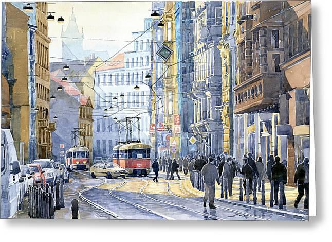 Old Paintings Greeting Cards - Prague Vodickova str  Greeting Card by Yuriy  Shevchuk