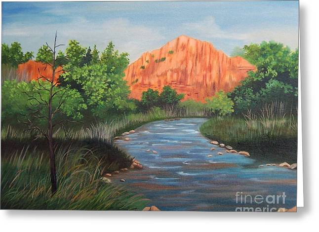 Stretched Cotton Canvas Greeting Cards - Prairie Dog Twin Fork of the Red River Greeting Card by Ruth  Housley