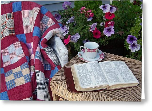 Bible Greeting Cards - Prayer Chair Greeting Card by Kathleen Luther