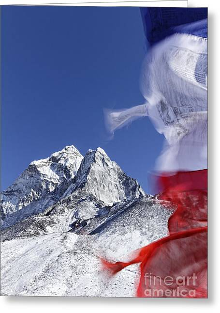 Buddhist Region Greeting Cards - Prayer flags and mountains in the Everest Region of Nepal Greeting Card by Robert Preston