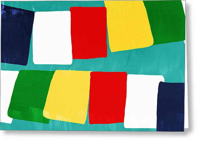 Rectangles Greeting Cards - Prayer Flags Greeting Card by Linda Woods