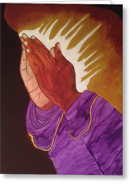 Praying Hands Drawings Greeting Cards - Praying Hands Greeting Card by Omari Slaughter