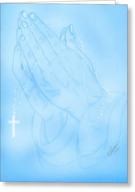 Praying Hands Drawings Greeting Cards - Praying Hands  Greeting Card by Susan Turner