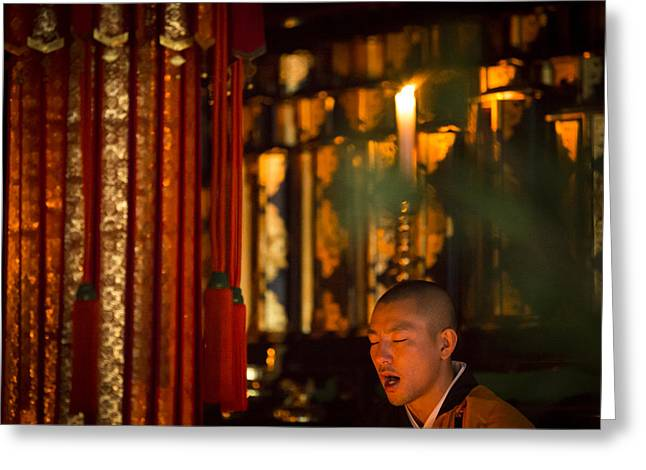 Koya Greeting Cards - Praying monk at Ekoin temple during morning ceremony Greeting Card by Ruben Vicente