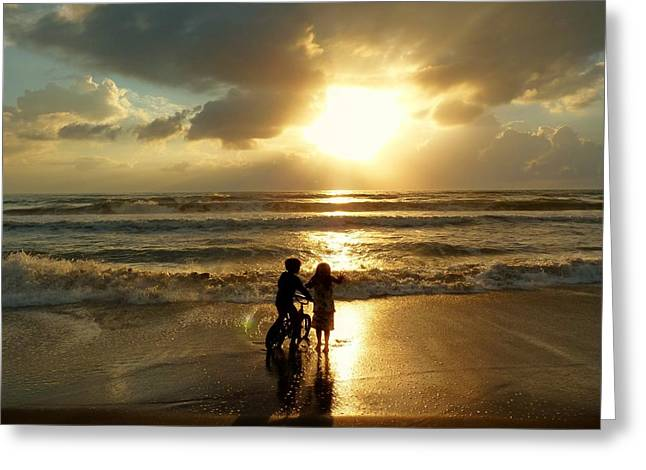 On The Beach Greeting Cards - Precious Moment Greeting Card by Elaine Franklin
