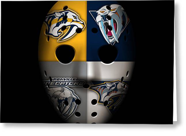Predator Greeting Cards - Predators Goalie Mask Greeting Card by Joe Hamilton
