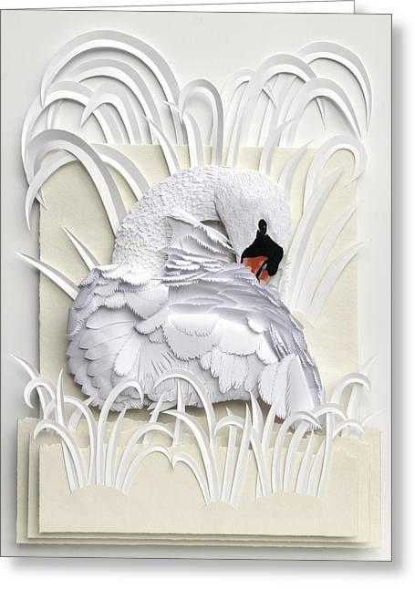 Birds Sculptures Greeting Cards - Preening Greeting Card by John Hebb