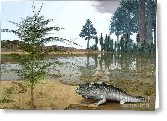 Floodplain Greeting Cards - Prehistoric Wetland Life, Artwork Greeting Card by Walter Myers