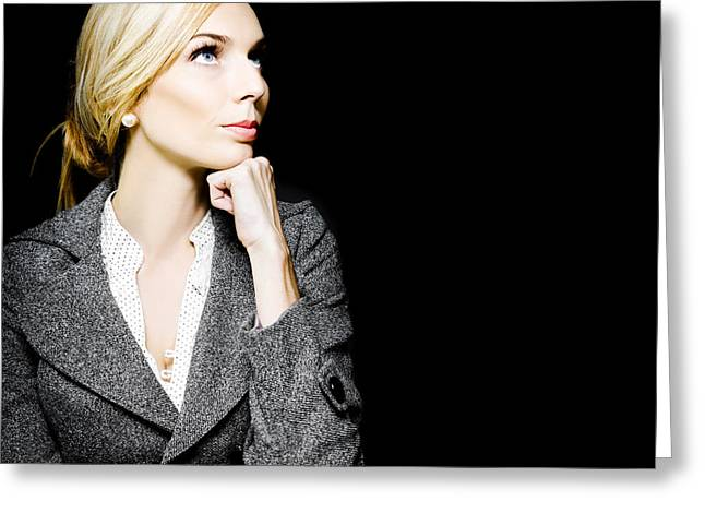 Chin Up Photographs Greeting Cards - Preoccupied beautiful business woman Greeting Card by Ryan Jorgensen
