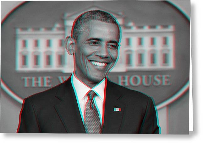President Obama Greeting Cards - President Barack Obama in 3D Greeting Card by Celestial Images