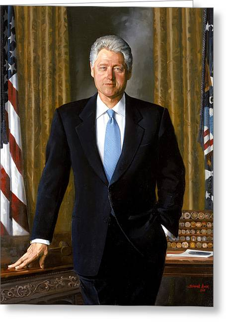 Jefferson Paintings Greeting Cards - President Bill Clinton Greeting Card by War Is Hell Store