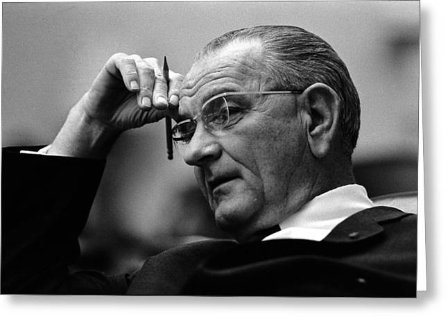 Presidential Photographs Greeting Cards - President Lyndon Johnson Greeting Card by War Is Hell Store