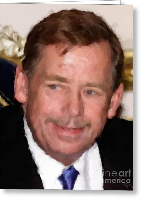 Tablets Drawings Greeting Cards - President Vaclav Havel Greeting Card by Miroslav Tyl